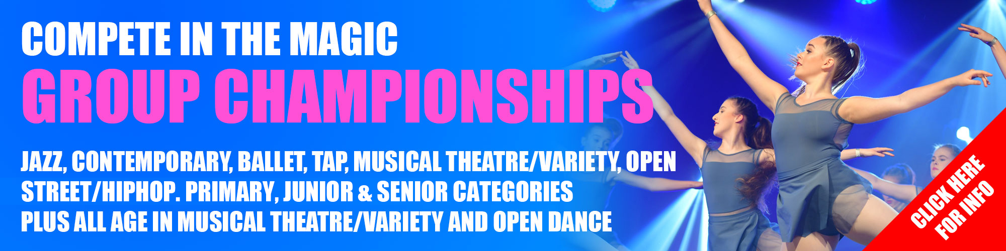 With group categories in the classic dance genres including Jazz, Contemporary, Ballet, Tap, Musical Theatre/Variety plus an Open category; dance schools can compete in as many of their favourite categories as they like with multiple entries allowed from each school in a category. Dancers can compete to win our IFDPA Primary, Juniors, and Seniors titles.