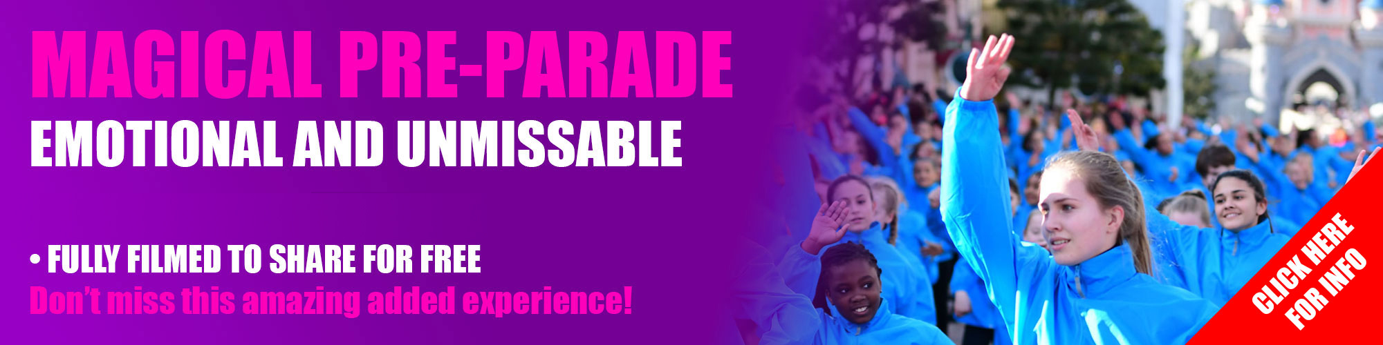 Ever dreamed of being part of Disney's Parade programme? Want to join dancers from all over the world in a specially choreographed pre-parade through the Disneyland Park? Then IFDPA is the event for you. Every IFDPA group is given the option to take part in our amazing pre-parade.